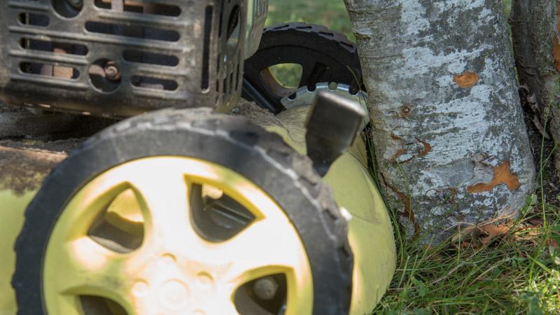 El cortacésped no llega a cortar alrededor de árboles y flores