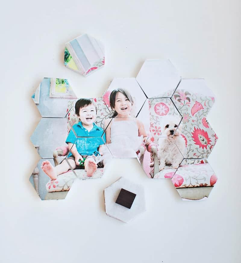 Puzzle de mosaicos con una foto e imanes para colocar en el frigorífico