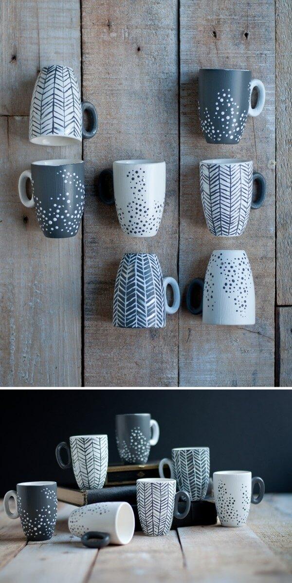 Tazas de porcelana decoradas a mano