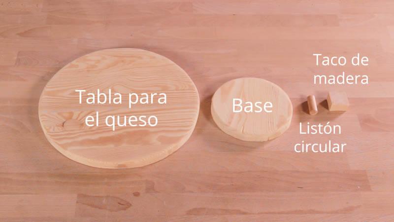 Piezas despiece de la tabla para quesos giratoria