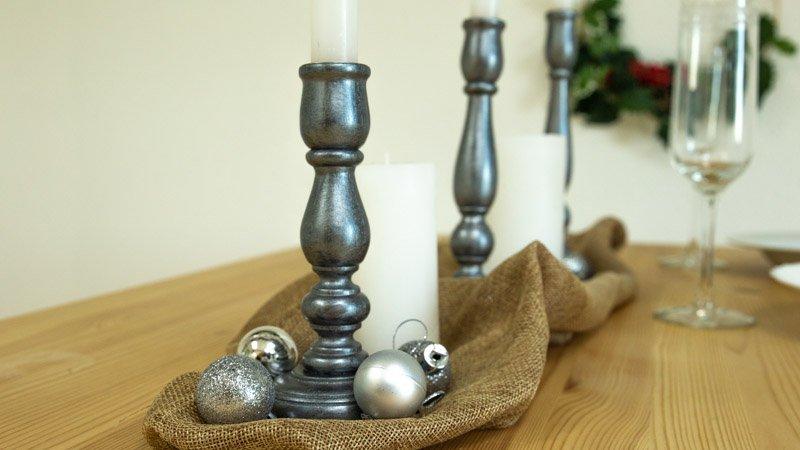 Candelabros decorados con efecto metalizado