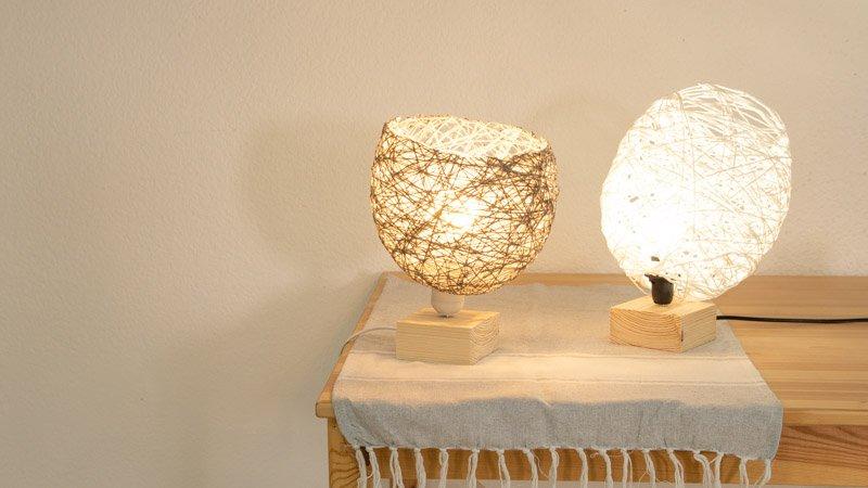 Lámparas hechas con hilo de lana