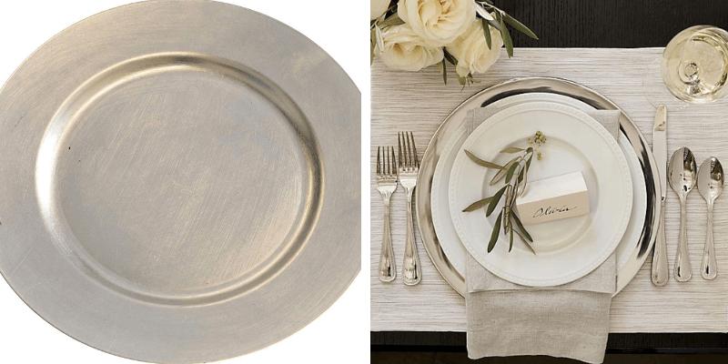 Bajoplatos metalizados para decorar mesa navideña
