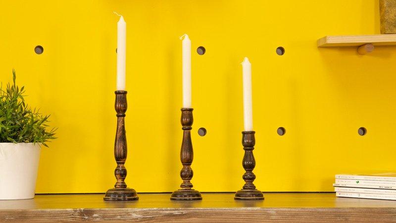 Renovación de candelabros de madera