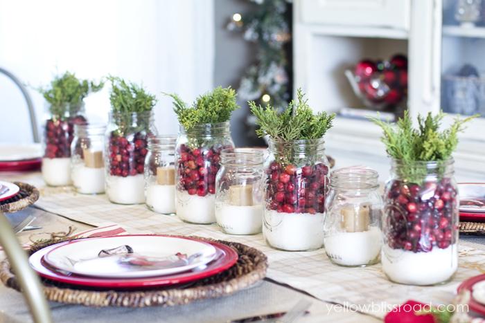 Centros de mesa navideños con nieve