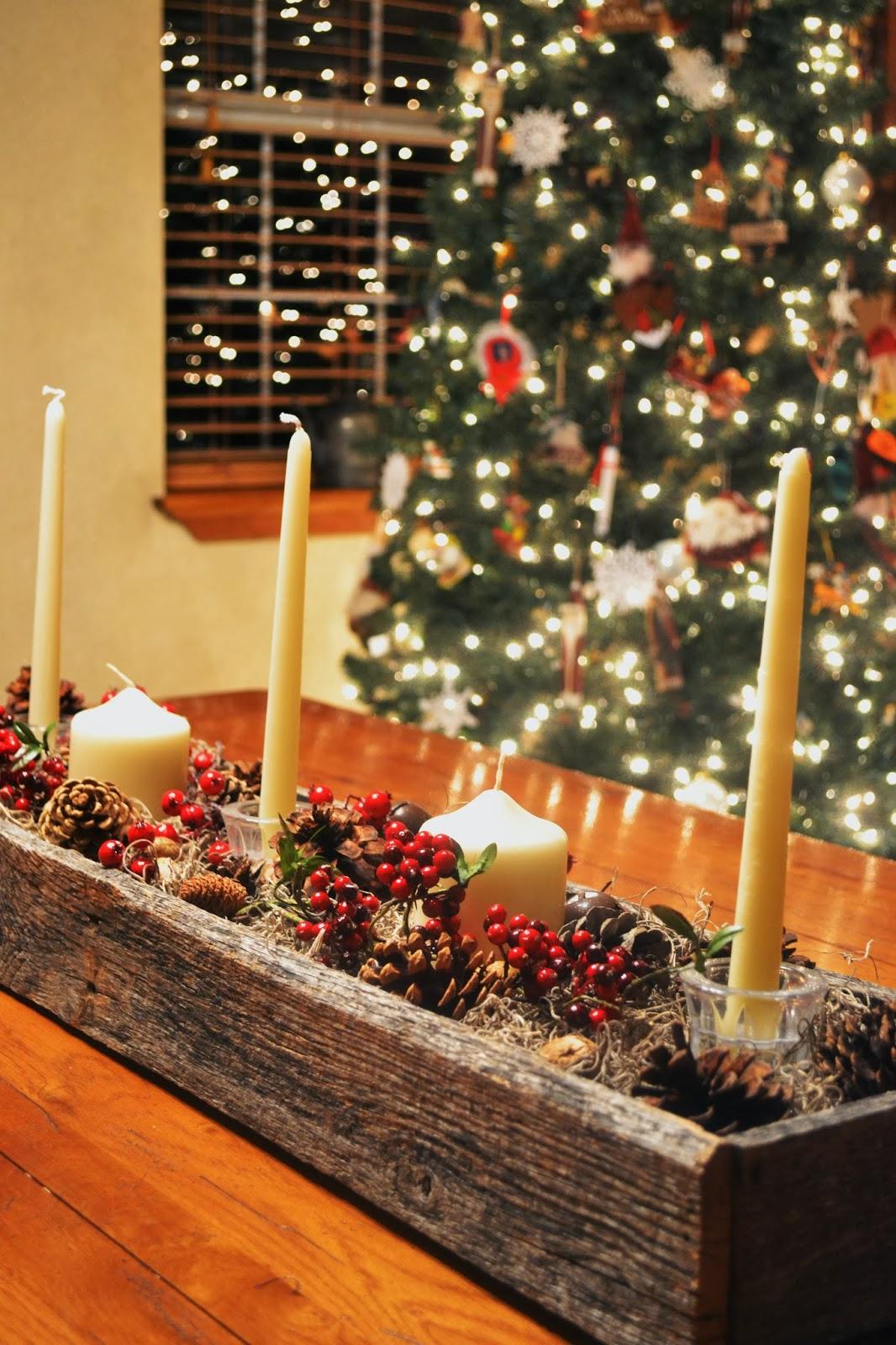 Centros de mesa navideños hechos con palé