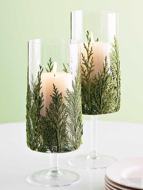 Cómo decorar una copa con hojas para el centro de mesa