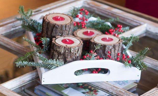 Centros de mesa para navidad con madera y velas