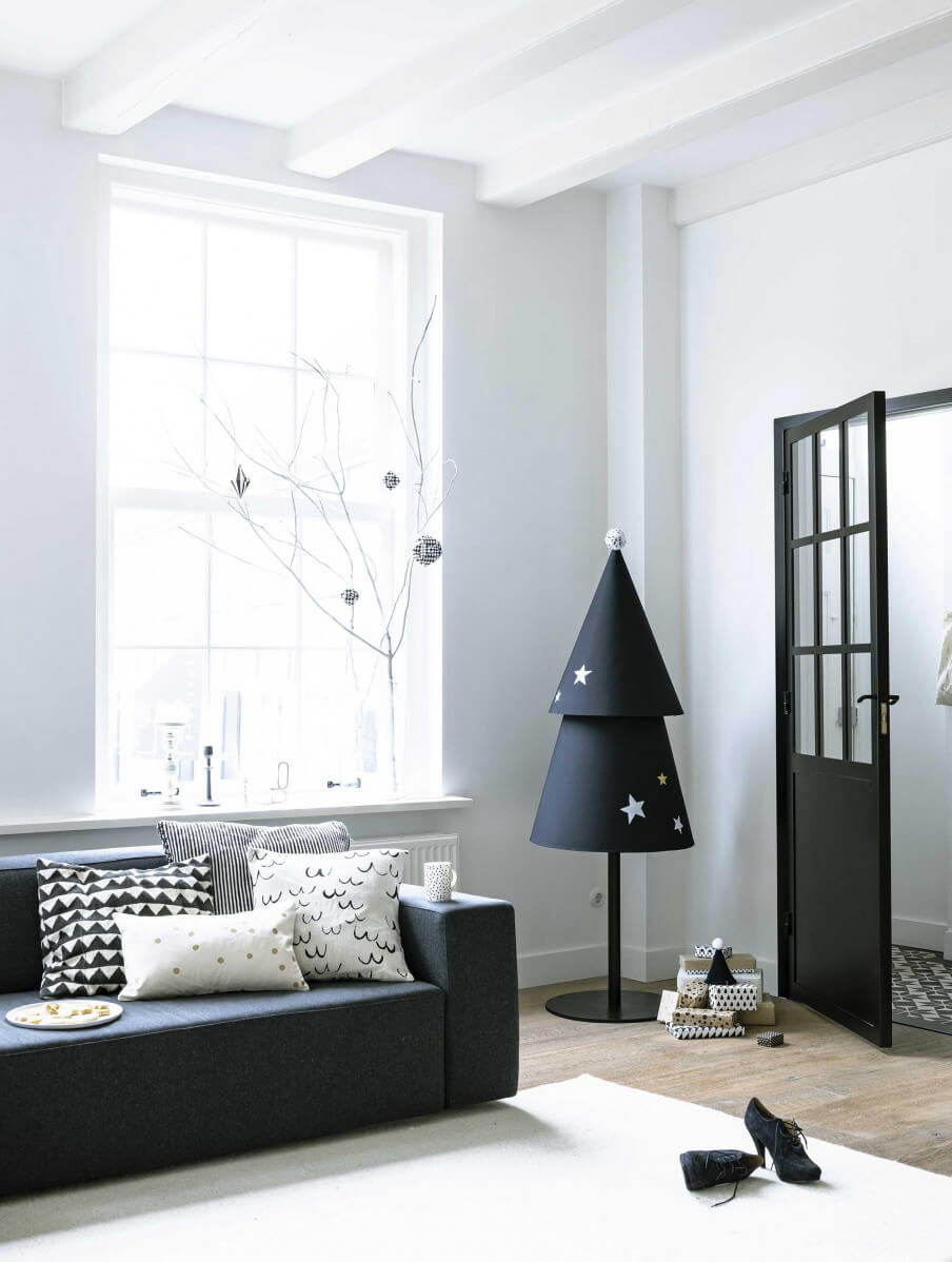 Árbol de navidad gris minimalista