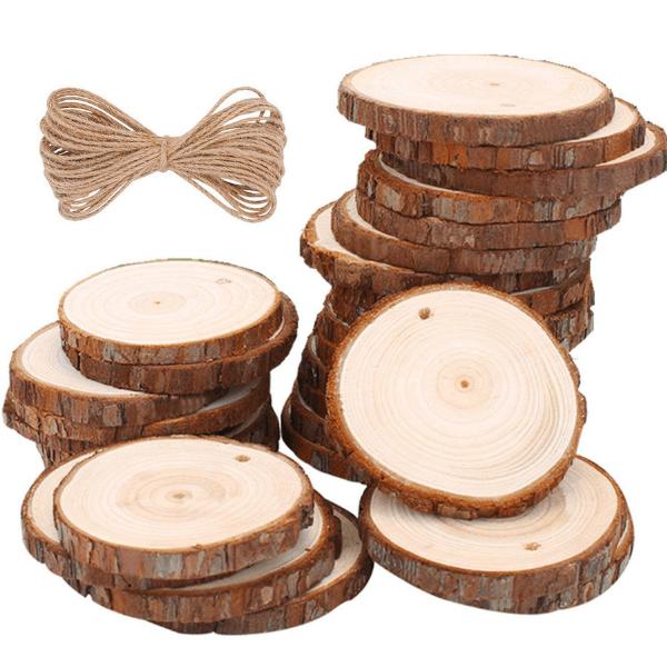 Rodajas de árbol para decorar servilletas en Navidad