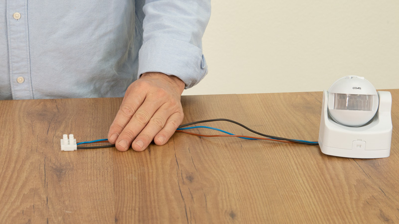 Poner los calbes del detector de presencia en una clema.