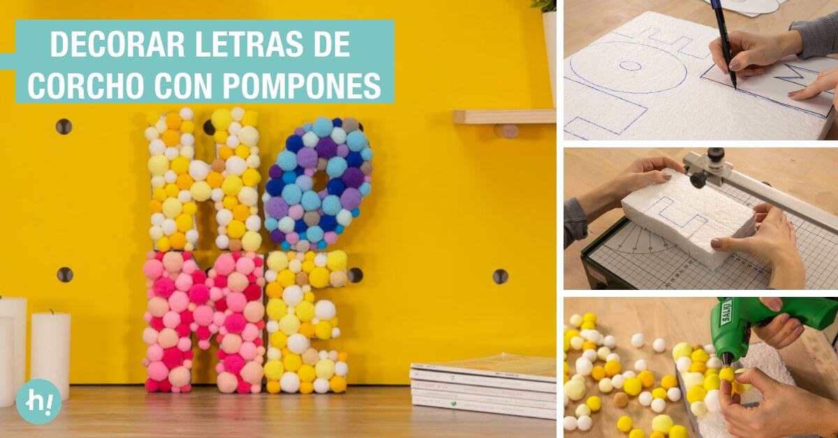 Letras De Corcho Con Pompones Tutorial Handfie Diy