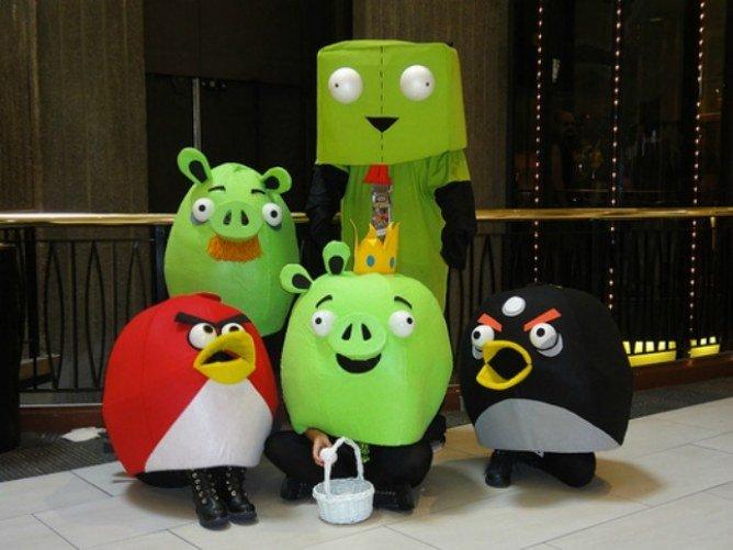 Disfraces para grupos con las figuras de Angry Birds