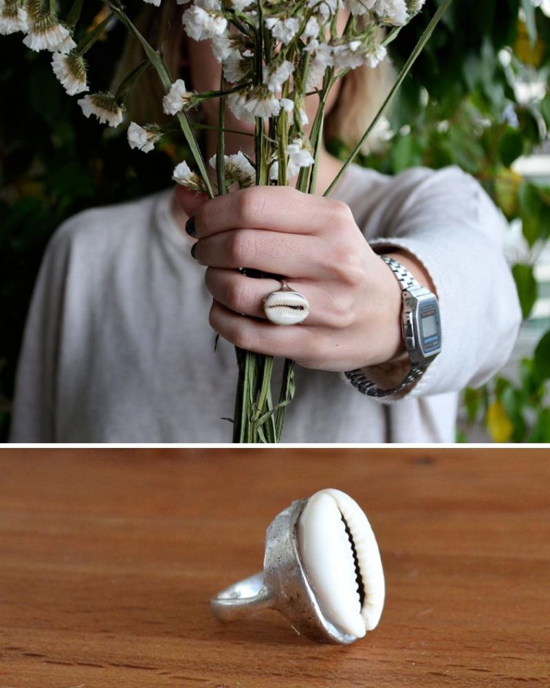 Idea para San Valentín anillo de concha hecho de forma artesanal diy