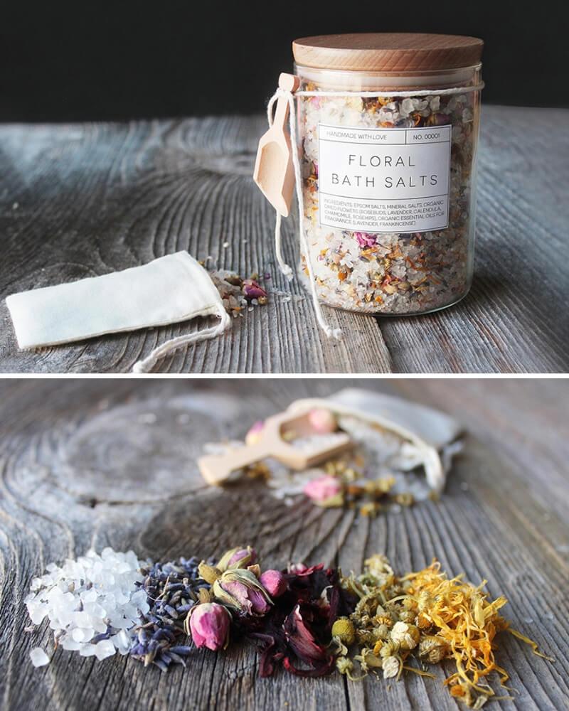 Ideas para regalar en San Valentín bote de sales de baño aromáticas con flores secas silvestres