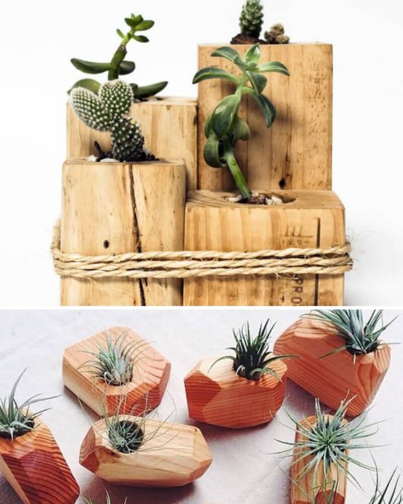 Ideas para regalar en San Valentín jardín de suculentas hecho a mano con macetas de madera diy