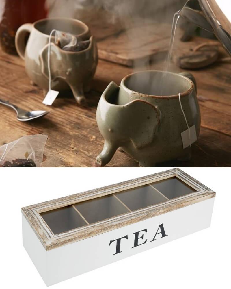 ideas para regalar a los amantes del té en el día de los enamorados taza con forma de elefante y caja de madera para el té