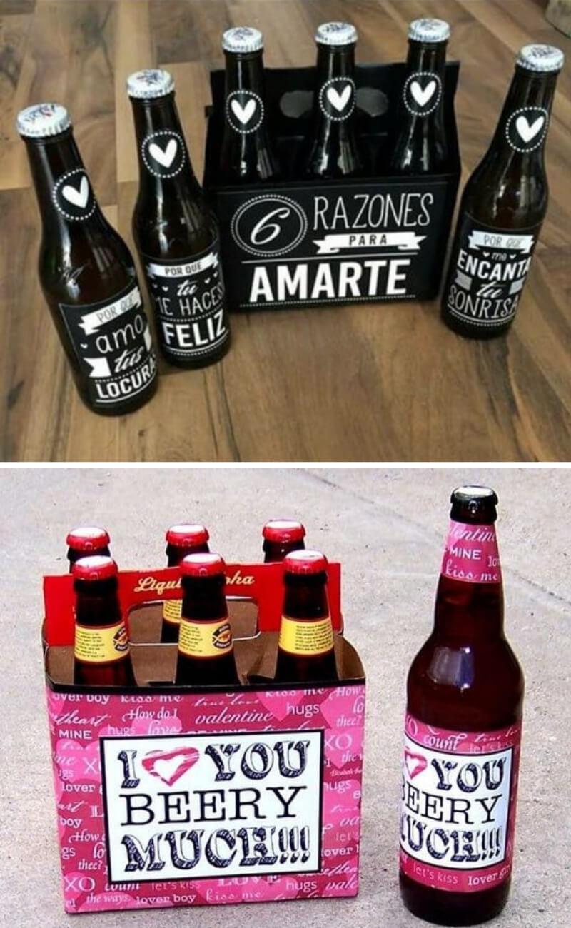 Cervezas personalizadas con mensajes de amor para regalar en San Valentín