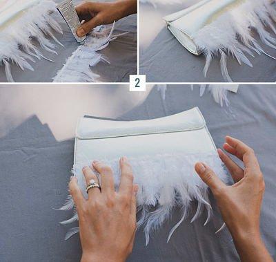 Cómo decorar un bolso con plumas blancas