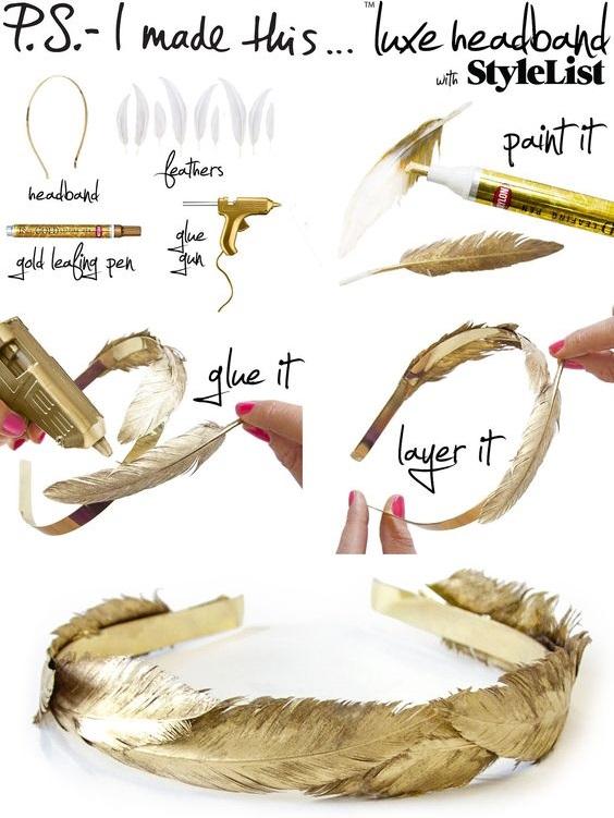 Hacer una diadema con plumas