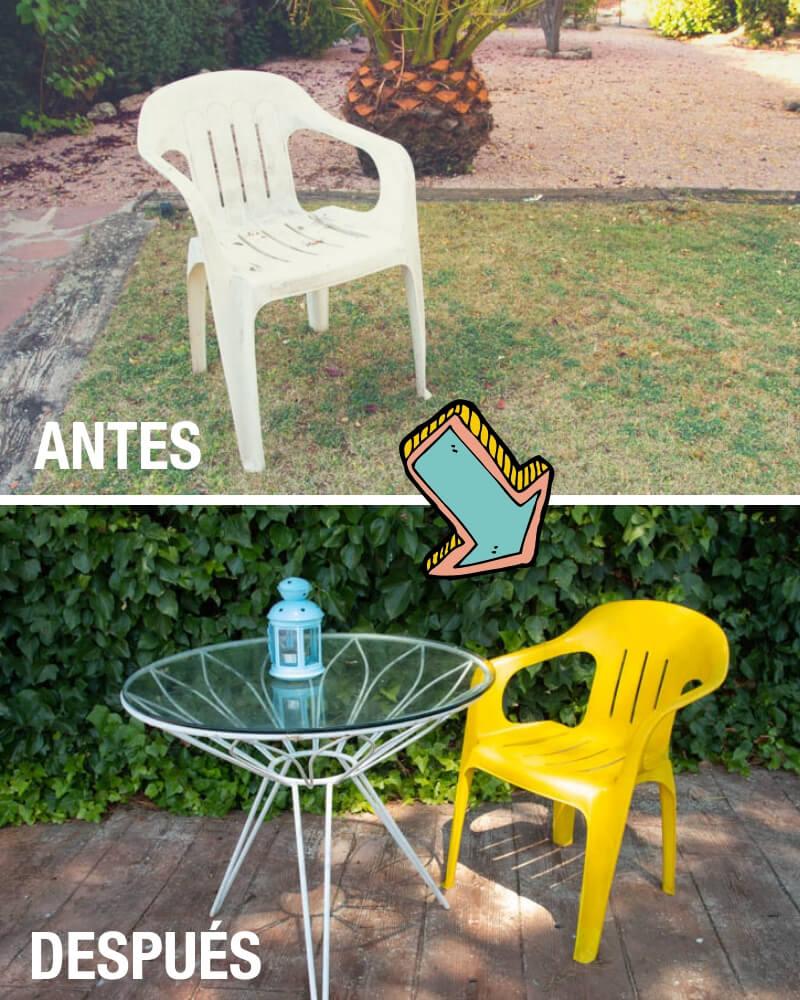 pintar sillas de plástico antes y después