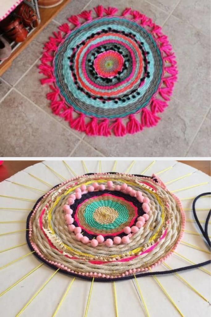 Alfombra de trapillo de colores y texturas diferentes al estilo boho chic