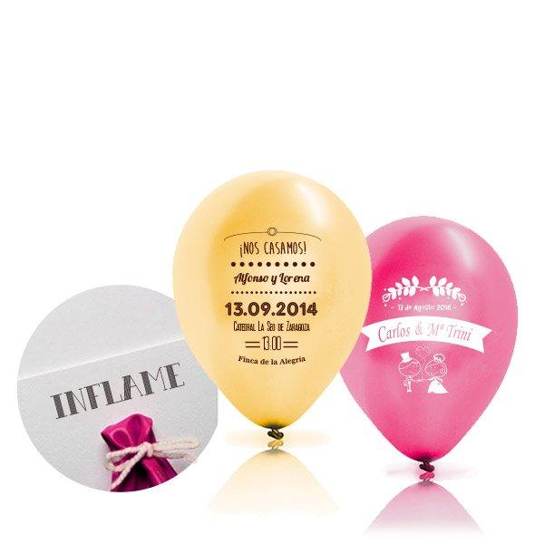 Invitaciones en un globo de helio