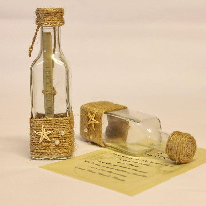 Invitacion de boda dentro de una botella de cristal