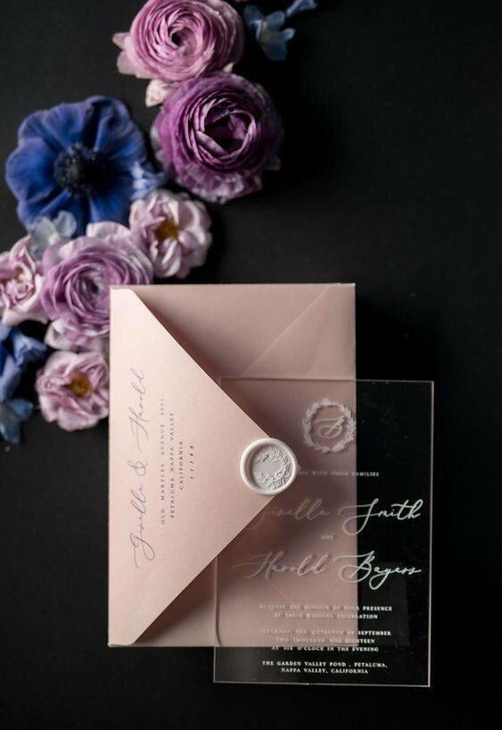Invitación de boda en acrílico