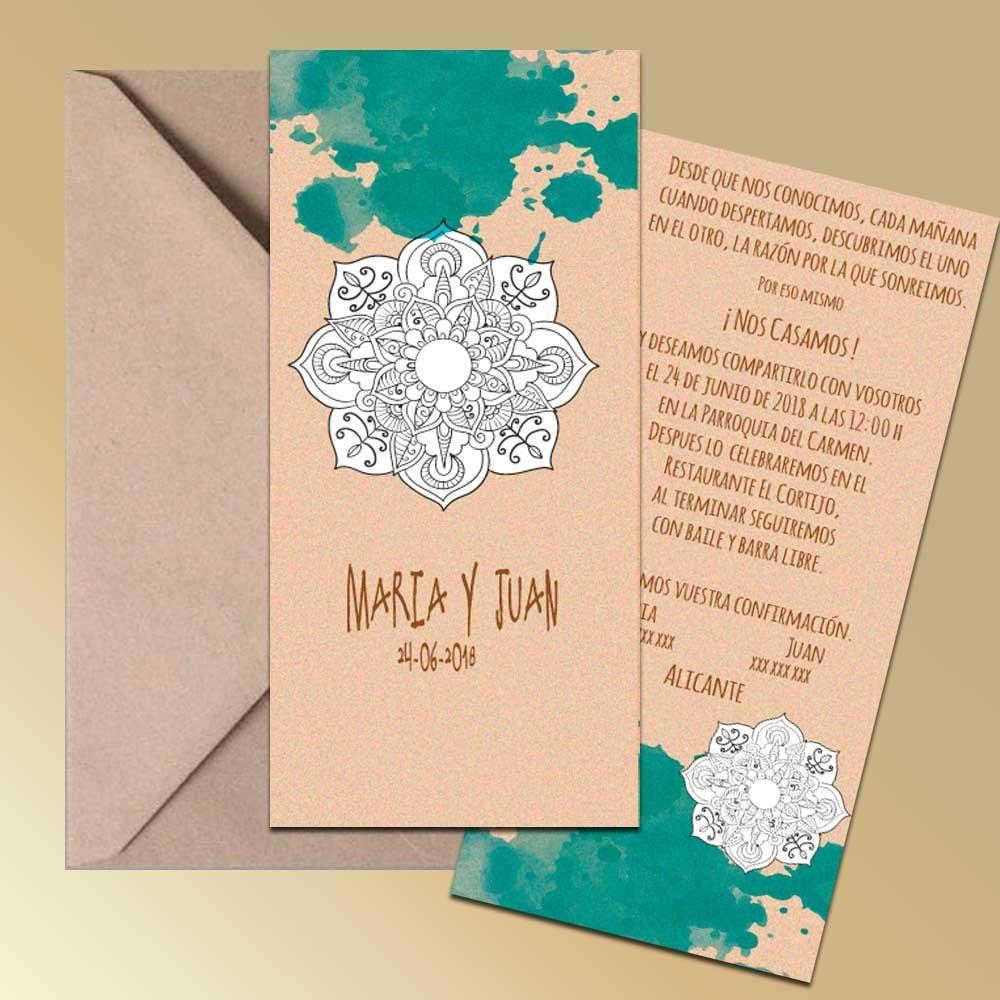 Invitación con posibilidad de colorear un mandala