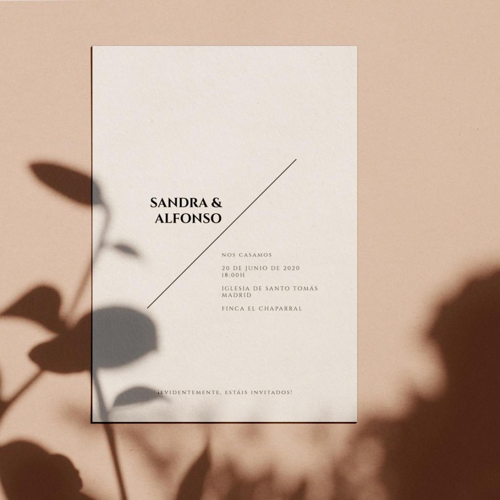 Invitación de boda sencilla y minimalista