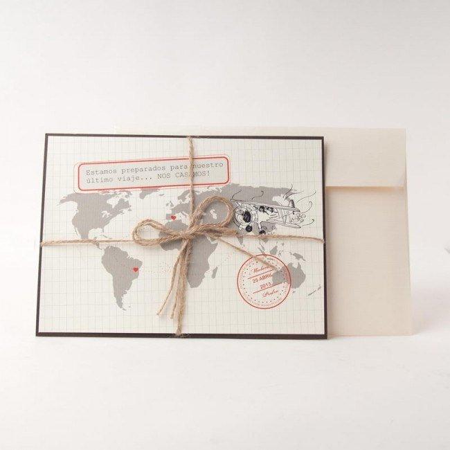 Invitaciones de boda en forma de mapa