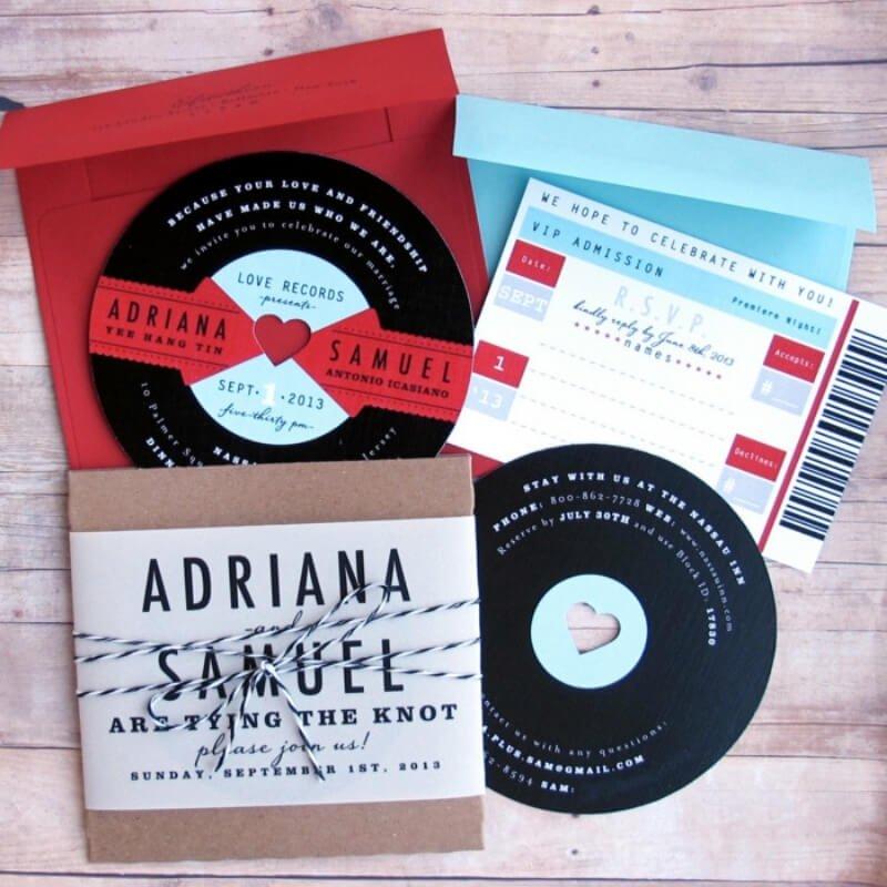 Invitaciones de boda temática música