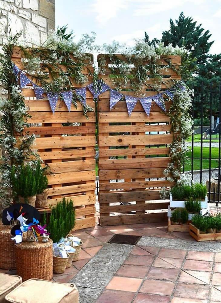 Photocall para boda con palets