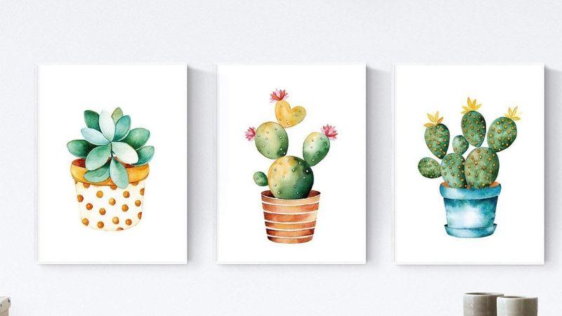 Lámina para enmarcar con cactus