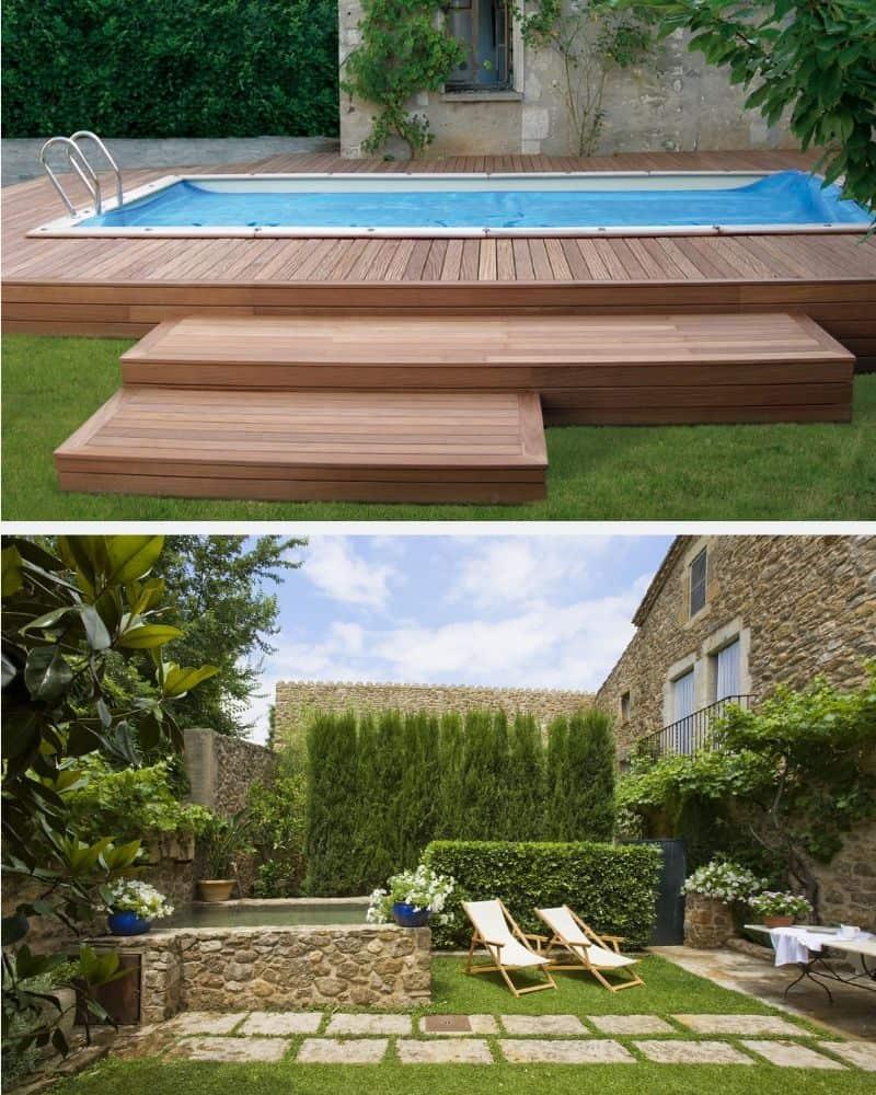 Decoración de jardín con suelos de diferentes texturas. Suelo laminado de parquet para rodear la piscina y camino de piedras.
