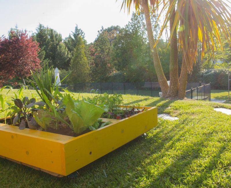 Decoración de exterior con un huerto urbano hecho con un palé reciclado y pintado de color amarillo.