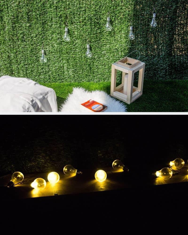 Iluminación de exterior con bombilla y guirnaldas de bombillas led.