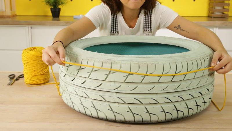 Colocación del trapillo alrededor del neumático