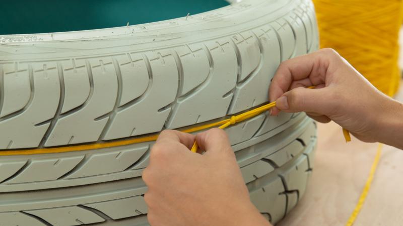 Decoración de la superficie del neumático con trapillo