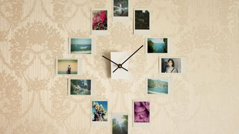 Reloj de pared con fotos DIY