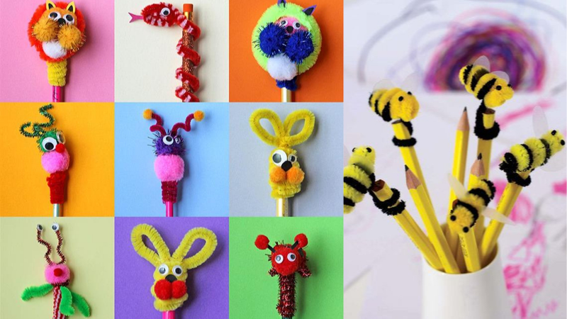 Decoración de lápices con limpiapipas