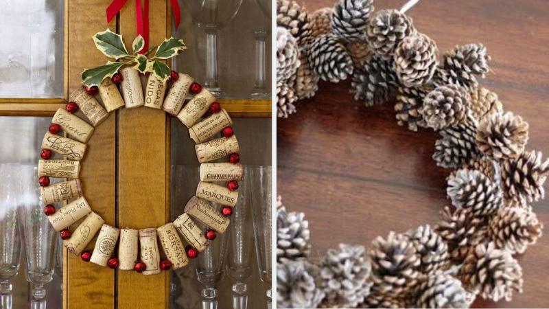 Coronas de Navidad con material reciclado