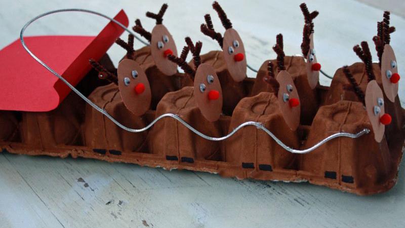 Manualidad de Navidad con huevera