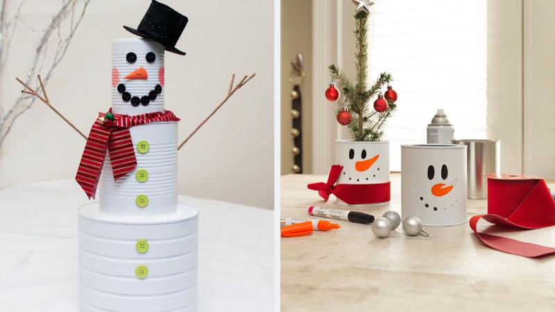 Manualidades para Navidad con latas de conserva recicladas