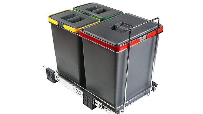 Tres cubos de reciclaje extraíbles