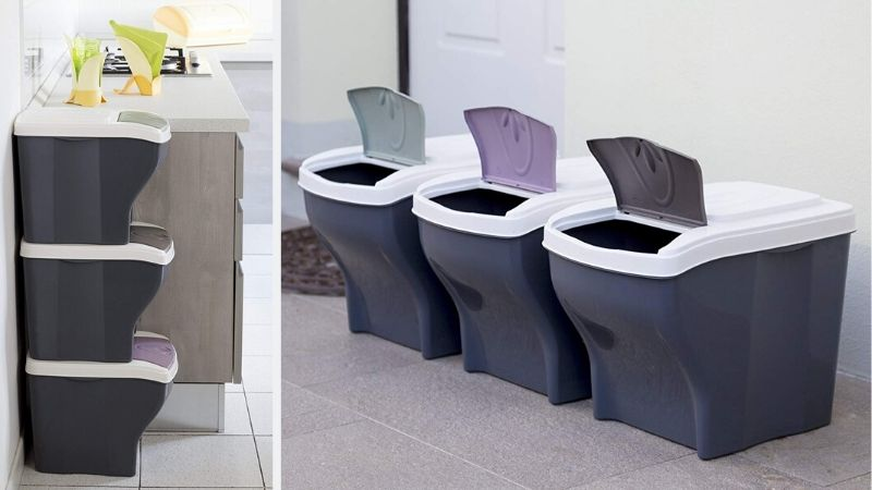 Cubos de reciclaje apilables