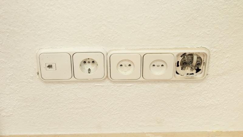 Estado de los mecanismos antes de cambiar las tomas eléctricas