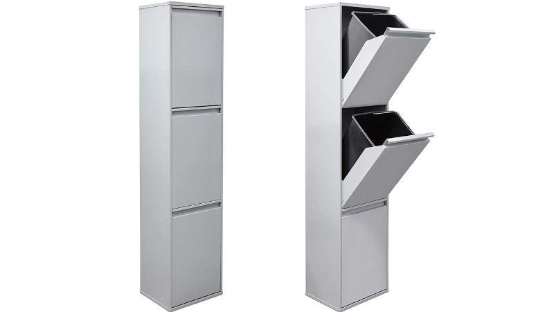 Mueble con tres compartimentos para reciclar