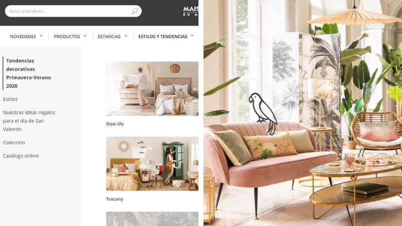 Web de decoración online Maisons du Monde